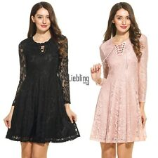 Women Lace Up O-Neck Long Sleeve Floral Lace Cocktail Party Skater Dress LEBB