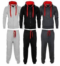 New Mens Contrast Cord Hooded Tracksuit Set Zip Top Gym Jogging Bottoms Suit