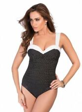 New Miraclesuit Polka-Dot Sweetheart Neckline One-Piece Swimsuit Size 8, 14