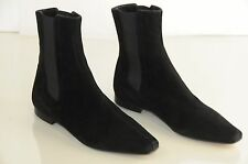 NEW MANOLO BLAHNIK Flat Ankle BOOTS BLACK Suede Flats Booties Shoes 35.5