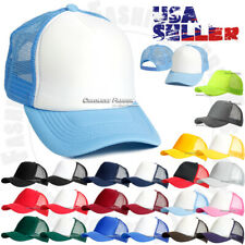 Trucker Hat Foam Mesh Baseball Cap Solid Plain Snapback Blank Curved Bill Caps