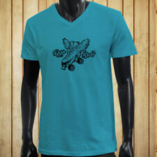 ROLLER DERBY WINGS ROLLER SKATE CONTACT SPORTS Mens Turquoise V-Neck T-Shirt