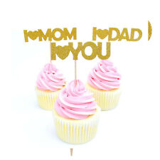 12pcs Mothers/Fathers Day  I Love You Mom/Dad Paper Cupcake Toppers Party Decor