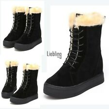 Women Fashion Winter Warm Lace Up Faux Suede Flat Hidden Wedge Snow Boots LEBB