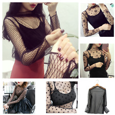 2017 Summer Fashionable Women Hollow Mesh Net T-Shirt Long Sleeve Lace Blouse GN
