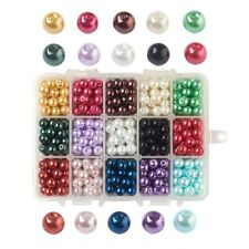 1 Box Mixed 15 Colors Glass Beads Charming Imitation Pearls Beads 4mm/6mm/8mm