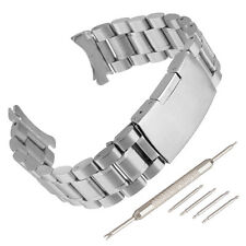 Stainless Steel Bracelet Watch Band Strap Curved End Solid Links Black Silver