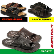 MENS FAUX LEATHER MULES CASUAL WALKING HOLIDAY SUMMER OPEN TOE SANDALS FLIP FLOP