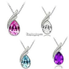 Beauty Fashion Jewelry Crystal Necklace Pendant Chain Rhinestone 4 colour ES9P01