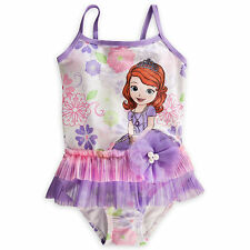 NWT DISNEY STORE SOFIA THE FIRST DELUXE SWIMSUIT SZ 4/4T GIRLS 1PC
