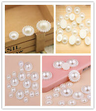 50Pcs Half Pearl Bead Sun Flower 10/20MM DIY Scrapbook For Craft Flatback