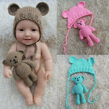 Newborn Baby Girl Boy Photography Prop Crochet Knit Costume Bear +Hat Set Outfit