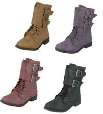SALE GIRLS SPOT ON LOW HEEL LACE UP ZIP UP SIDE ROUND TOE MILITARY BOOTS H5025
