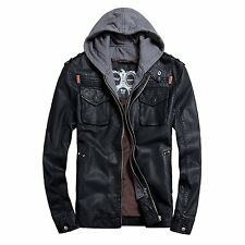 Mens Faux Leather Moto Bomber Hoodie Jackets Rock Style Zip UP