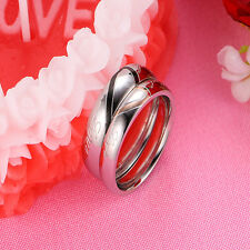 Love Heart Rings Xmas Promise Present Gift For Her Him Wife Husband Couple Women