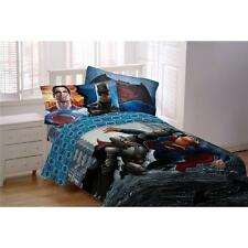 Boys Kids Reversible Batman Superman Movie Comforter Sheets Bed in a Bag Set