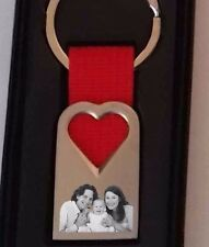 Personalised HEART Keyring keychain YOUR PHOTO & TEXT ENGRAVED Wedding Birthday.