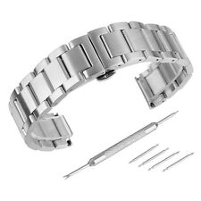 Brushed Stainless Steel Solid Link Watch Band Bracelet Strap Replacement Buckle