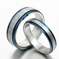 Groom & Bride Blue Matching Wedding Engagement Bands Titanium Ring Set 4-13 4&6m