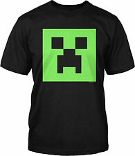 Minecraft Evil Creeper Glow in the Dark Face Youth Black Video Game T-Shirt Tee