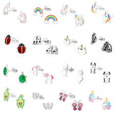 Girls ladies 925 sterling silver studs earrings cat dog paw pony horse elephant