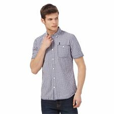 St George By Duffer Mens Navy And White Checked Short Sleeved Shirt