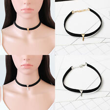 New Women Black Velvet Chunky Collar Choker Bib Statement Necklace Jewelry Gift