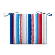Red White Blue Stripe Outdoor PATIO SEAT CHAIR CUSHION PAD - 5 SIZES