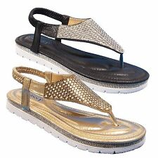 Ladies Flat Toe Post Shoes Womens Diamante Embellished Sandals Summer Beach Size