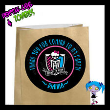 Monster High Crest Birthday Party Favor Goody Bag STICKERS - Personalized
