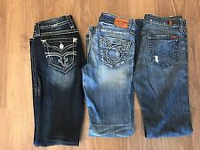 Women's Buckle Jeans Rock Revival Big Star Seven Mankind Sizes 28L and 29L