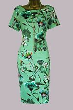 NEW EX MARKS AND SPENCER GREEN FLORAL BODYCON PARTY WEDDING CRUISE DRESS 8-20