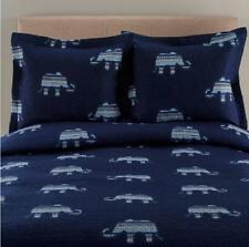 Indigo Blue Exotic Elephants Bohemian Quilt Shams Bedding Set Teen Boys Coverlet