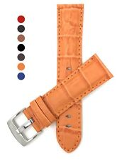 Leather Mens Watch Strap Band, 18mm, 20mm, 22mm, 24mm, 26mm Croc, Many Colors