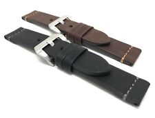 Leather Watch Strap, 22mm, 24mm, Black or Brown w/ Stitch fits Fossil & Panerai