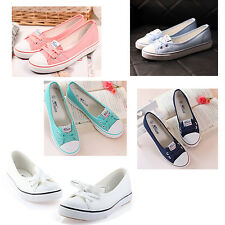 Candy Colors Women Girls Low Top Loafer Canvas Shoes Sneaker Soft Flat Shoe E2Q4