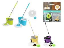 Stainless Steel Rotating Spin Mop Bucket Set Wringer Microfiber 2/4 Mop Heads