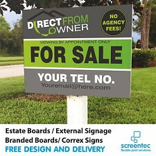 2 x FOR SALE / TO LET Estate Agent Logo Sign Boards Printed Direct not a sticker