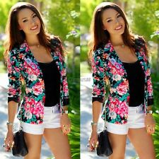 Fashion Womens Floral Long Sleeve Jacket Coat Slim Blazer Suit Casual OK02