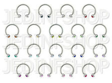 Circular Barbell Horseshoe Ring - 1.2mm (16g) - 10mm - Double Gem - Steel