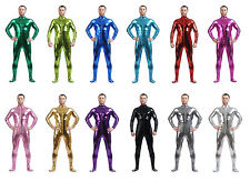 Front Zipper METALLIC Lycra Second Skin Spandex Catsuit Bodysuit Zentai Costume