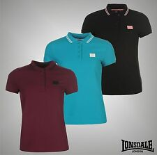 New Ladies Branded Lonsdale Casual Short Sleeves Lion Polo Shirt Top Size 10-18