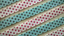 Blue Grosgrain Ribbon with Brown Dots~ 16mm Width~Crafts,Cardmaking,Sweet Trees