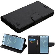 For Sony Ericsson Xperia XZs Leather Flip Wallet Case Cover Stand Pouch Black