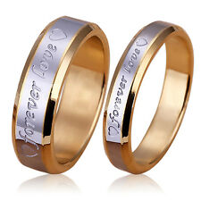 Unisex Forever Love Band Ring Engagement Engraving Couple Gold Plated Intriguing