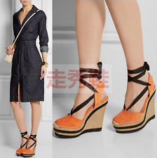 Hot Sale Women Mixed Leather High Wedge Heel Ankle Strap Platform Sandal Shoes