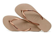 Havaianas Women`s Flip Flops Slim Logo Metallic Sandal Rose Gold and Bronze NWT