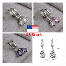 Women 18K Gold Plated Crystal Amethyst  Earrings Charming Jewelry Gift 3 Colors