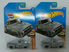 LOT OF 2 NEW 2017 HOT WHEELS 1/64 SCALE DIE CAST FLAT GRAY CUSTOM '56 FORD TRUCK