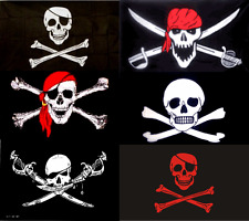 PIRATE FLAG LARGE 3X5' FOOT FT JOLLY ROGER BANNER SKULL CROSSBONES RED SCARF